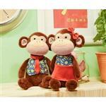 Metoo45cm紅藍衣情侶猴坐姿玩偶-女