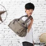 韓系型男 ROBOR爵仕時尚大口袋帆布包側背/手提/斜背三用包(軍綠)