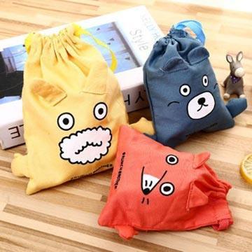攤手BB小寵物棉麻束口袋(大號)(顏色款式隨機出貨)