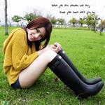【Sanho】輕雅風時尚防水長筒雨靴/率性黑